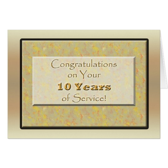 Employee 10 Years of Service or Anniversary Card