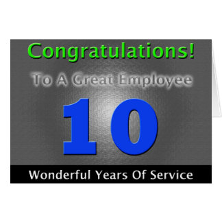 Employee 10th Anniversary Bold and Stylish Greeting Card