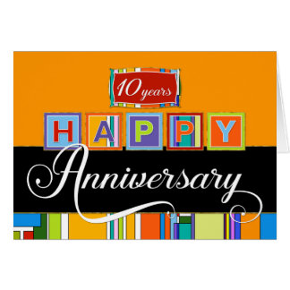 Employee 10th  Anniversary - Bold Colours Card