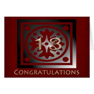 Employee 13 Year Anniversary Elegant Golden Red Card