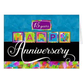 Employee 15th  Anniversary - Colorful Card