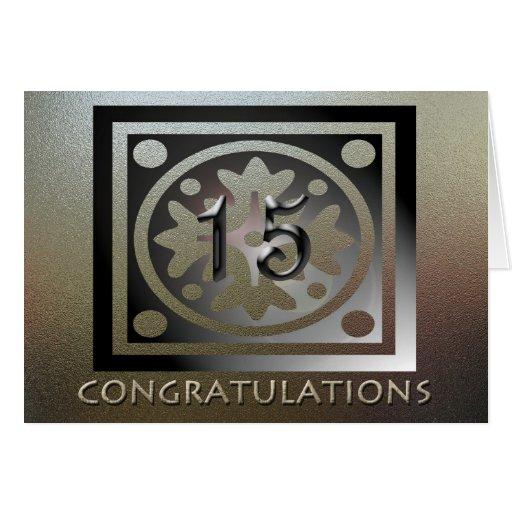 Employee 15th Anniversary Elegant Golden Greeting Card