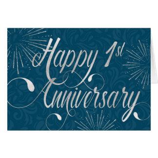 Employee 1st Anniversary - Swirly Text - Blue Card