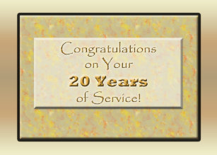 employee 20 years of service or anniversary card