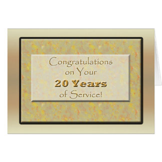 Employee 20 Years of Service or Anniversary Greeting Card