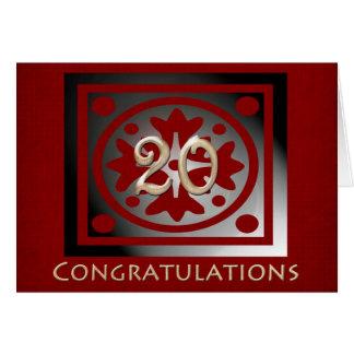 Employee 20th Anniversary Elegant Red Oak Card