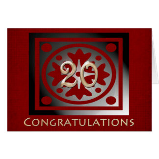 Employee 20th Anniversary Elegant Red Oak Greeting Card