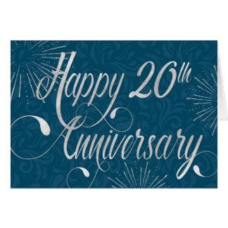 Employee 20th Anniversary - Swirly Text - Blue Card