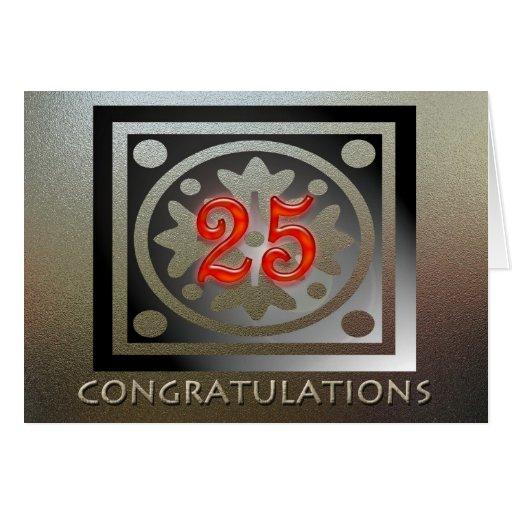Employee 25th Anniversary Elegant Golden Red Card
