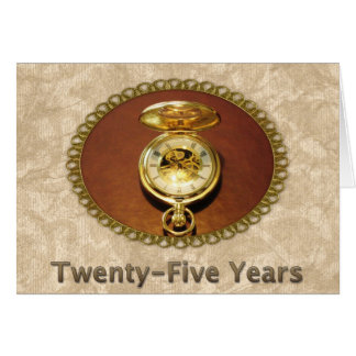 Employee 25th Anniversary Elegant Golden Watch Card