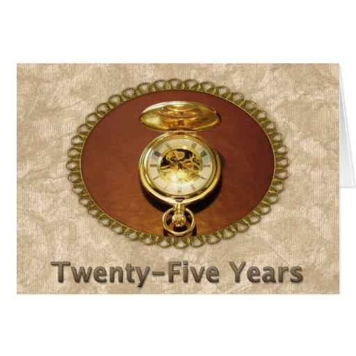 Employee 25th Anniversary Elegant Golden Watch Card