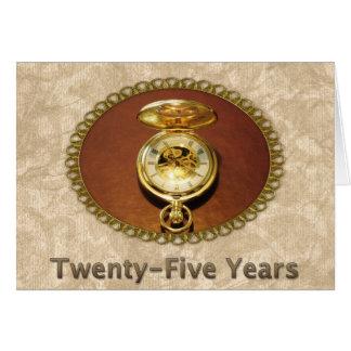 Employee 25th Anniversary Elegant Golden Watch Greeting Card