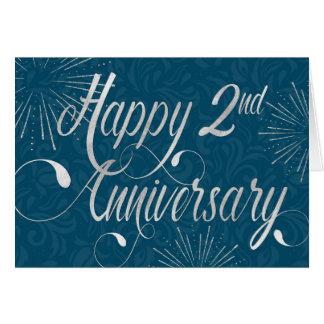 Employee 2nd Anniversary - Swirly Text - Blue Card