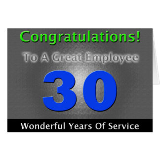 Employee 30th Anniversary Bold and Stylish Greeting Card