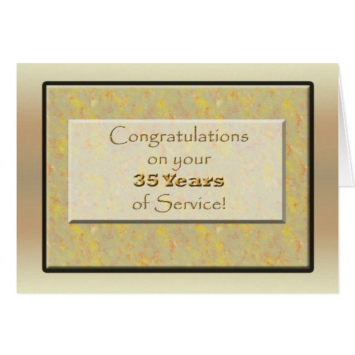 Employee 35 Years of Service or Anniversary Cards