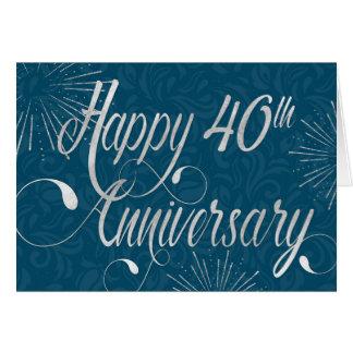 Employee 40th Anniversary - Swirly Text - Blue Card