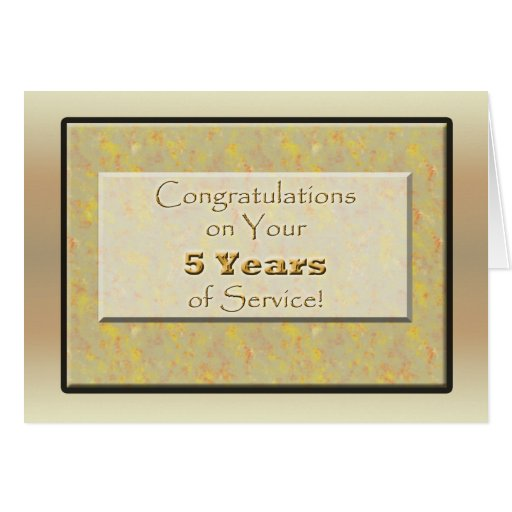 Employee 5 Years of Service or Anniversary Cards