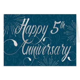 Employee 5th Anniversary - Swirly Text - Blue Card