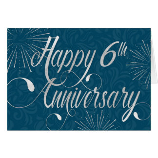 Employee 6th Anniversary - Swirly Text - Blue Card