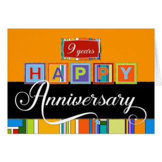 Employee 9th Anniversary - Bold Colours Card