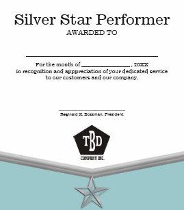 employee achievement star performer certificate photo print
