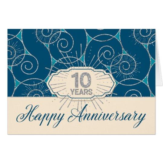 Employee Anniversary 10 Years - Blue Swirls Card