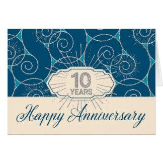 Employee Anniversary 10 Years - Blue Swirls Greeting Card