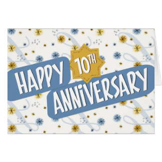 Employee Anniversary 10 Years Blue White Pattern Card
