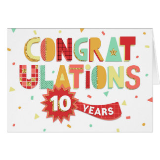 Employee Anniversary 10 Years Fun Congratulations Card