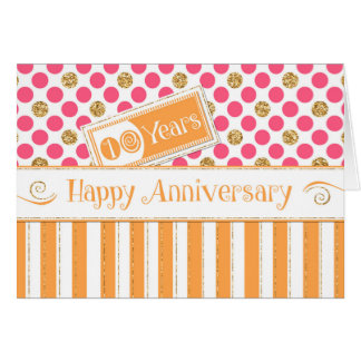 Employee Anniversary 10 Years Orange Pink Card