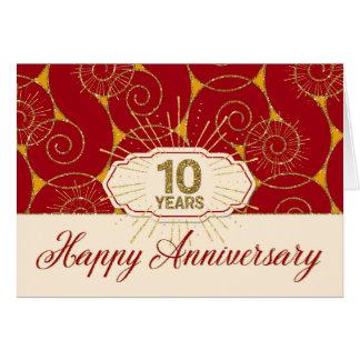 Employee Anniversary 10 Years - Red Swirls Greeting Card