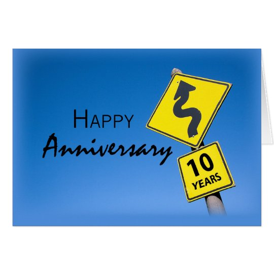 Employee Anniversary, 10 Years Road Sign Card