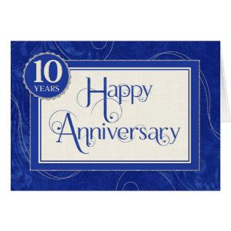 Employee Anniversary 10 Years - Text Swirls Blue Greeting Card