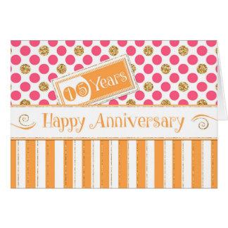 Employee Anniversary 15 Years Orange Pink Card