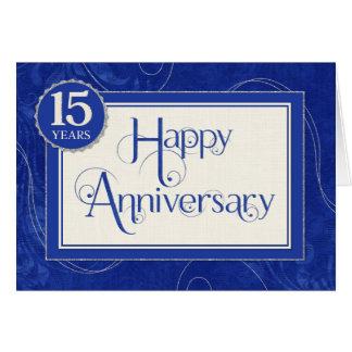Employee Anniversary 15 Years - Text Swirls Blue Greeting Card