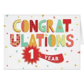 Employee Anniversary 1 Year Fun Congratulations Card