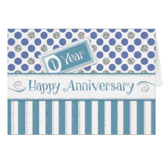 Employee Anniversary 1 Year Jade Blue Card