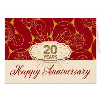Employee Anniversary 20 Years - Red Swirls Greeting Card