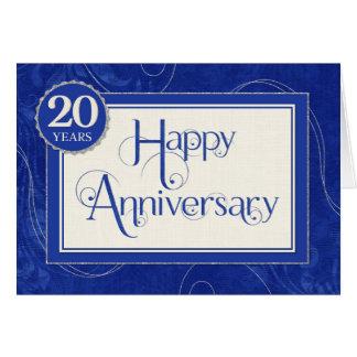 Employee Anniversary 20 Years - Text Swirls Blue Greeting Card
