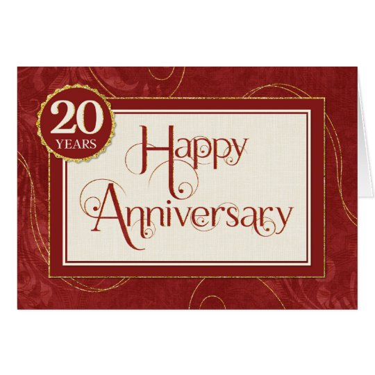 Employee Anniversary 20 Years - Text Swirls Damask