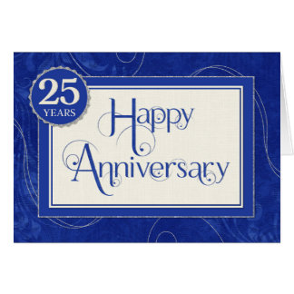 Employee Anniversary 25 Years - Text Swirls Blue Greeting Card
