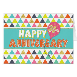Employee Anniversary 30 Years - Colourful Pattern Card