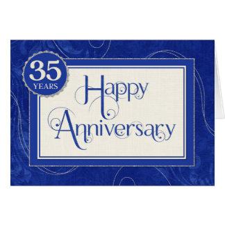 Employee Anniversary 35 Years - Text Swirls Blue Greeting Card
