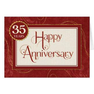 Employee Anniversary 35 Years - Text Swirls Damask Greeting Card