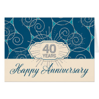 Employee Anniversary 40 Years - Blue Swirls Greeting Card