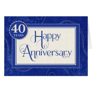 Employee Anniversary 40 Years - Text Swirls Blue Greeting Card