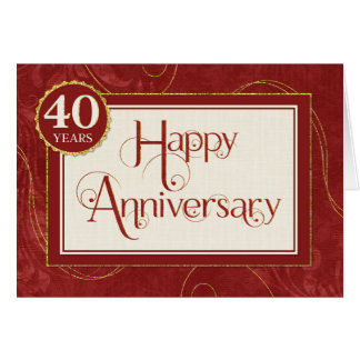Employee Anniversary 40 Years - Text Swirls Damask Greeting Card