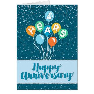 Employee Anniversary 4 Years - Balloons Confetti Greeting Card