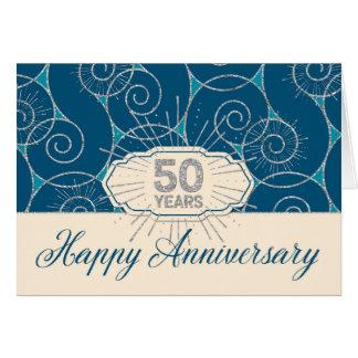Employee Anniversary 50 Years - Blue Swirls Greeting Card