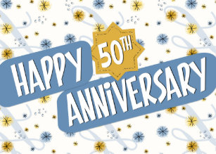 employee anniversary 50 years blue white pattern card - Employee Anniversary Cards